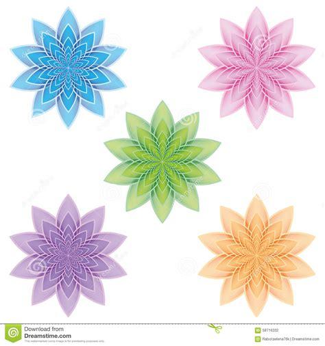 un insieme di fiori insieme dei fiori di loto su un fondo bianco illustrazione