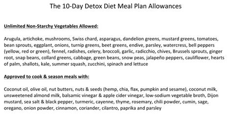 10 Day Detox Diet Meal Plan by 10 Day Detox Diet One Sheet The Dr Oz Show