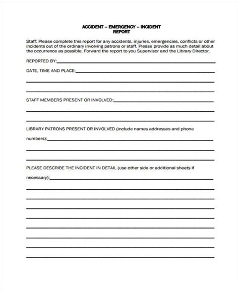 incident report form exle