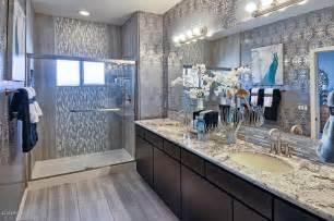 Bathroom Granite Ideas above clear mirror and long vanity in elegant master bathroom ideas