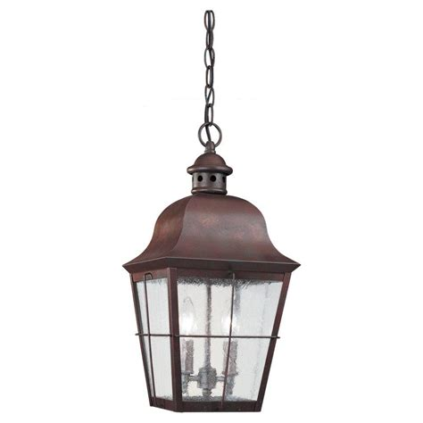 Outdoor Lighting Hanging Sea Gull Lighting Chatham 2 Light Weathered Copper Outdoor Hanging Pendant 6062 44 The Home Depot