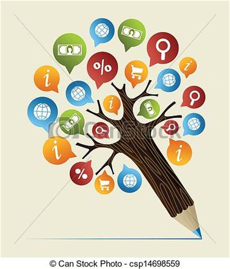 Search Studies Clipart Vector Of Research Studies Concept Pencil Tree Social College Study