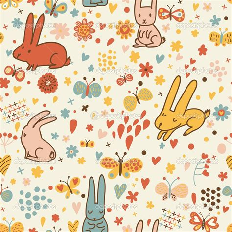 nice pattern for photoshop cute rabbits and butterflies in vector nice childish