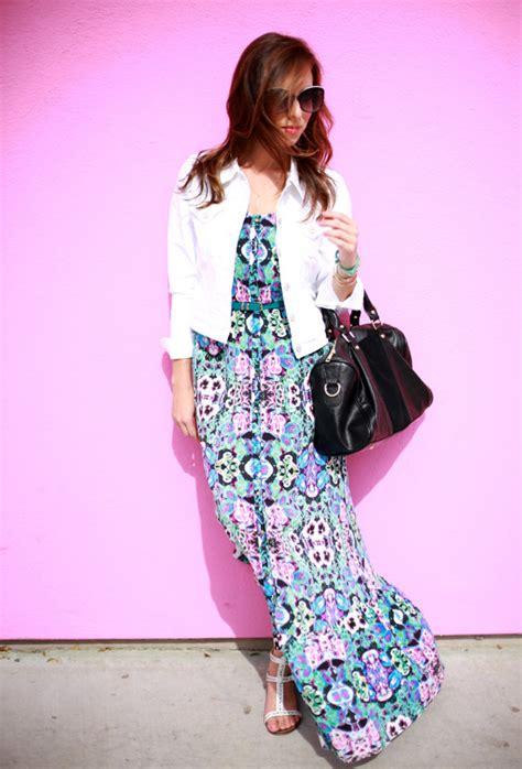 Denim Dress Baju Dress Maxi Dress Simply Polka 1 how to wear denim jackets with maxi dresses wardrobelooks