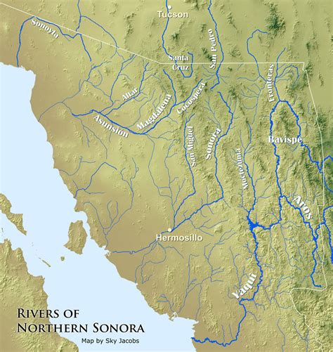 river map of mexico map of the rivers of northern sonora mexico sonora