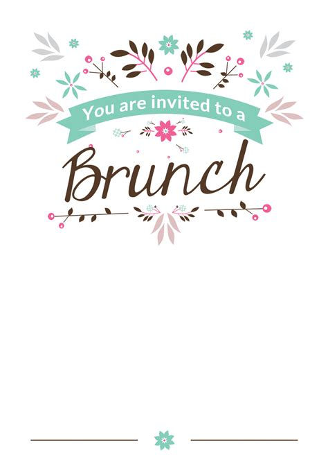 Flat Floral Free Printable Brunch Invitation Template Greetings Island Party Ideas Breakfast Invitation Template Free