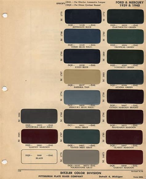 1939 40 ford color chip selection auto colors chips and ford