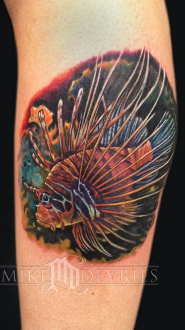 lionfish tattoo designs lizard pin up designs side