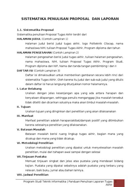 format proposal judul tugas akhir sistematika penulisan proposal dan laporan tugas akhir