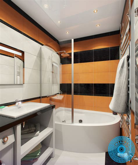 Orange And Black Bathroom by Small Bathroom Decorating Idea In Orange And Black Shade