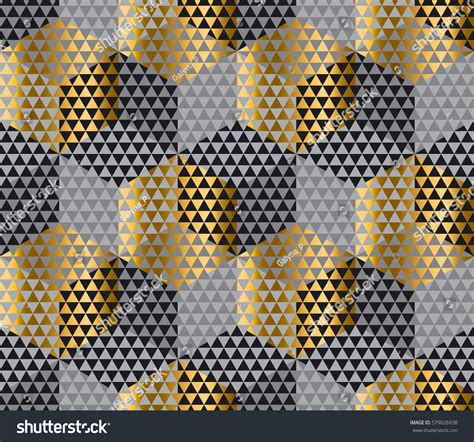 gold hexagon pattern gold black geometry hexagon seamless fabric stock vector