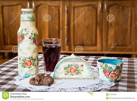 Decoupage Objects - decoupage on household items stock images image 37427964