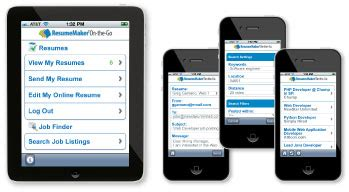 Resume Apps For Mobile Mobile Searching With Resumemaker On The Go