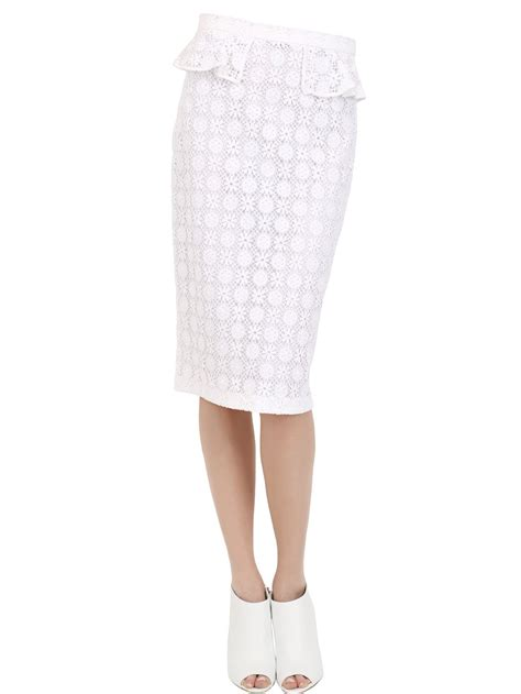 burberry prorsum cotton lace pencil skirt in white lyst