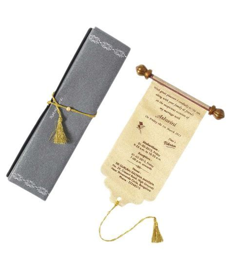 Nakoda Cards Traditional Scroll Wedding Card   Pack Of 100