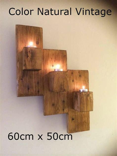 porta velas candelero de pared  cubos de madera rustico