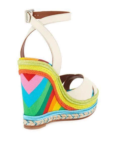 Rainbow Wedges Sandal valentino leather rainbow wedge sandal ivory