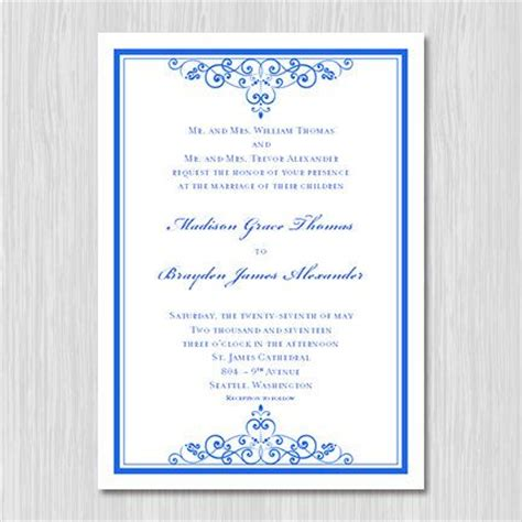 Royal Blue Wedding Invitation Template Editable Microsoft Word Instant Download All Colors Royal Wedding Invitation Template Free