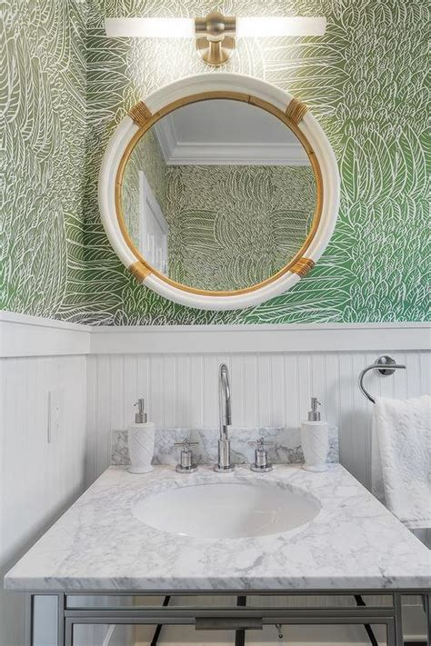 green powder room white and green powder room with beadboard trim