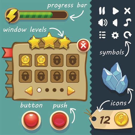 graphic design elements quiz cute game button and other design elements free vector in