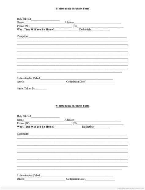 apartment maintenance request form template free maintenance forms maintenance request form word