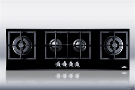 Cast Iron On Ceramic Glass Cooktop summit gc443bgl 43 quot island gas cooktop with 4 sealed burners cast iron grates electronic