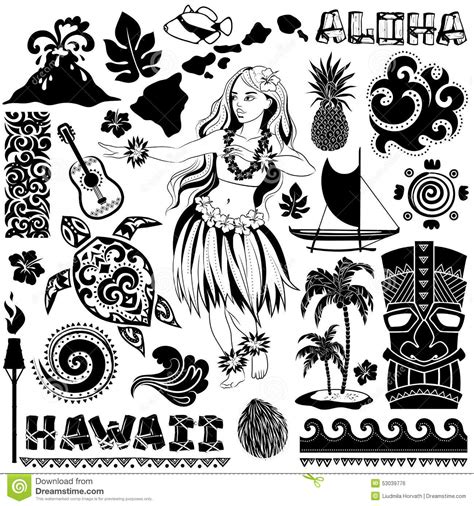 vector retro set of hawaiian icons and symbols stock