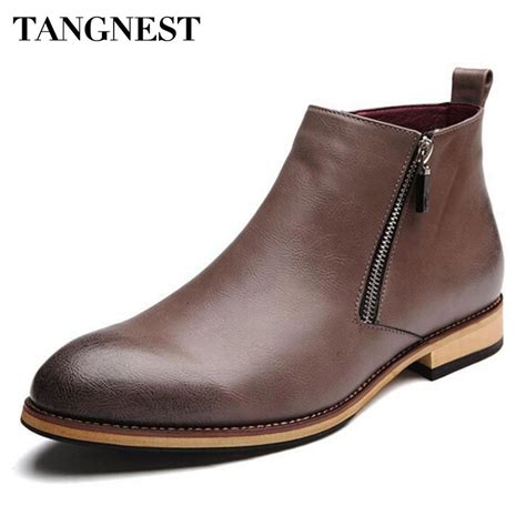 casual motorcycle boots men tangnest men boots 2017 fashion pointed toe ankle boots