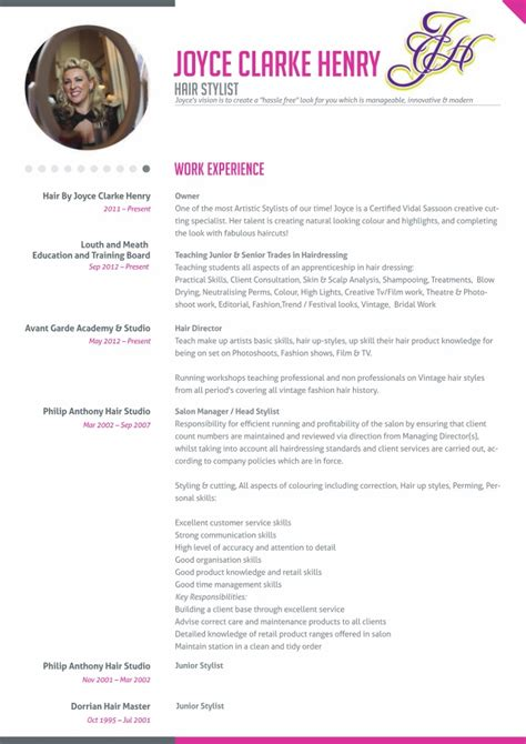 Hair Dresser Resume by Joyce Clarke Henry Hairdresser Resume