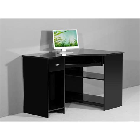 Black Corner Computer Desk Venus Black High Gloss Corner Computer Desk Ebay