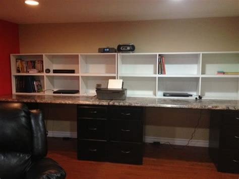 Countertop Desk Ideas by Desk Made From File Cabinets Countertop And Bookshelves