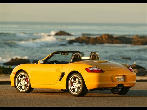 yellow porsche boxster 2007 porsche boxster s yellow rear and side seashore