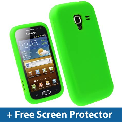 green silicone skin for samsung galaxy ace 2 i8160 android cover holder