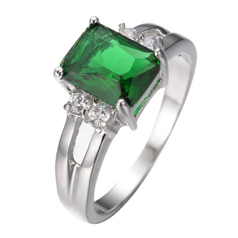 size 5 10 green emerald zircon ring s 10kt white
