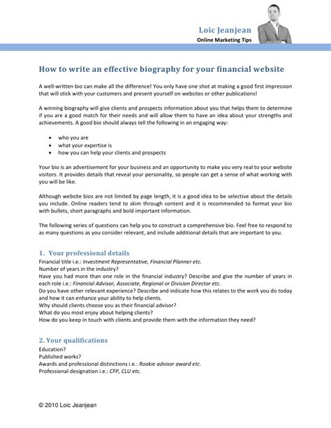 outstanding financial planner bio sle for your own bio bio exles