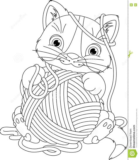 kitten yarn coloring page kitten with yarn ball coloring page stock vector