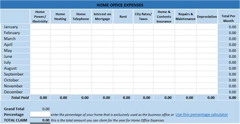 tax template for expenses home office tax expenses