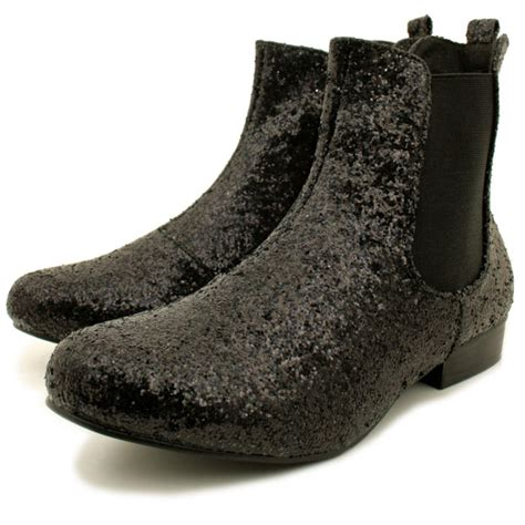 womens black glitter chelsea flat ankle boots from