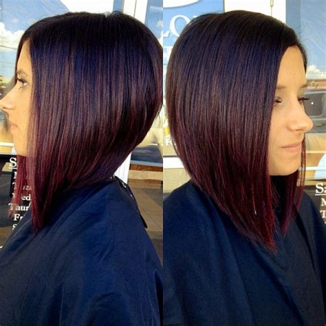 pictures of diangle bob with ombre color red redombre ombre aline cut bob aveda hair
