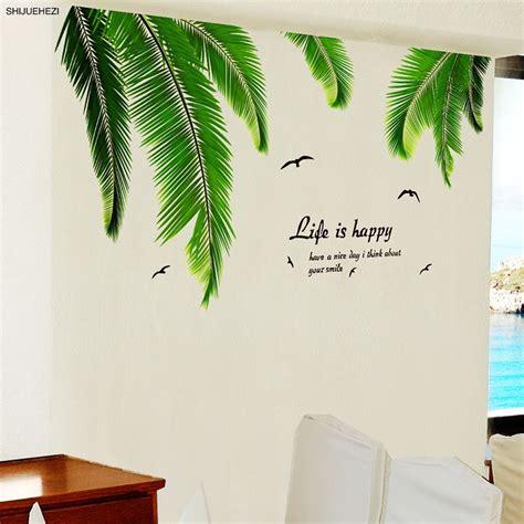 Leaves Wall Sticker shijuehezi palm tree leaves wall sticker vinyl diy