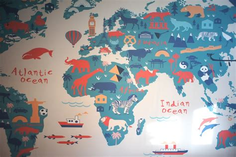 World Map Explore Wall Mural - decorating a travel themed child s bedroom