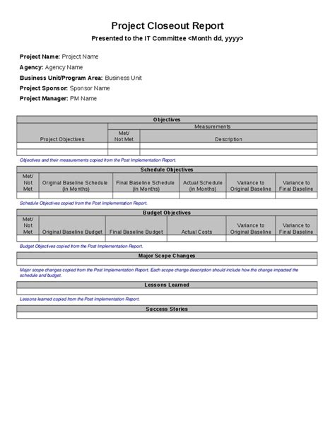 project closeout report template hashdoc