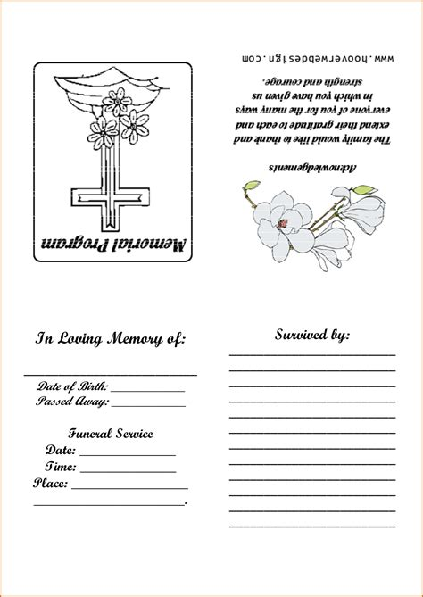 sle funeral program template funeral service template word promotion announcement