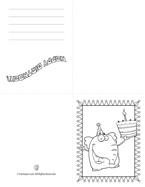 folded greeting card template sketch coloring birthday folding card coloring pages