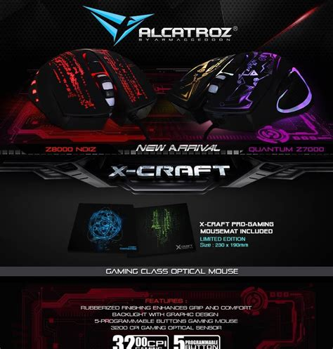 Alcatroz Gaming Mouse X Craft Pro Noiz Z8000 Free Small Mousepad Alcatroz X Craft Noiz Z8000 Gaming M End 3 16 2018 4 15 Pm