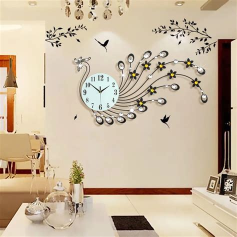 decorative wall clocks for living room 3d wall clock modern design home decor wall watches living room 39pcs diamonds peacock