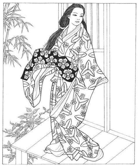 japanese girl kimono coloring page 17 best images about embroidery japanese on pinterest