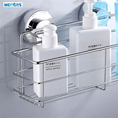 suction shelf bathroom meotiys stainless steel strong suction bathroom shelf wall