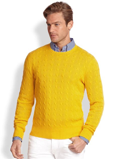 Yellow Sweater polo ralph cableknit sweater in yellow for lyst