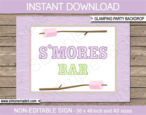 Gling Party S Mores Bar Sign Or Backdrop Party Decorations Bar Signs Templates